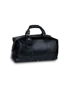 Captain's Bag - Black Florentine Leather front view with bag tag