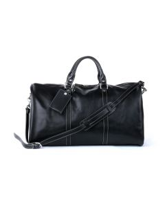 Belmont Cabin Bag - Black Florentine Leather front view with bag tag and shoulder strap