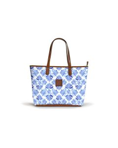 Savannah Zippered Tote - Leather Patch