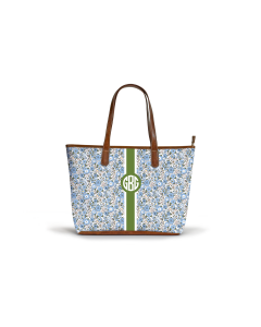 Savannah Zippered Tote - Monogram Stripe