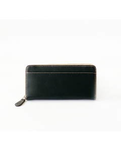 Zippered Wallet- Genuine Black Leather