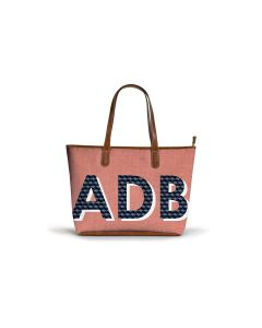 Savannah Zippered Tote - Patterned Monogram