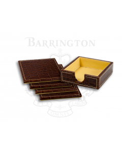 4 Piece Coaster Set- Brown Croc Embossed Leather