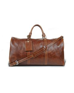 Belmont Cabin Bag - British Tan Florentine Leather with bag tag and shoulder strap