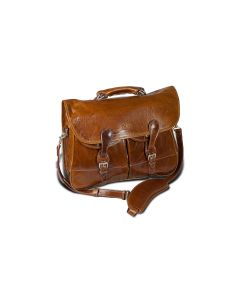 Burke & Wills Laptop Bag - British Tan Florentine Leather front view