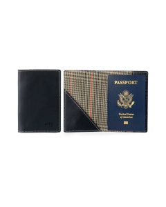 Glasgow Passport Case - Black Florentine Leather open and front view