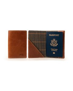 Glasgow Passport Case - British Tan Florentine Leather open view